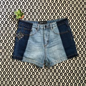 NWT Nasty Gal Denim 2-Tone Shorts